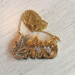 Nameplate Necklace 18K Gld over Slvr